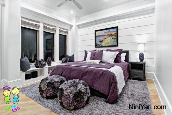 استفاده از بنفش در طراحی داخلی، استفاده از بنفش در اتاق خواب، تخت خواب بنفش
