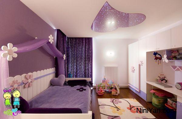 استفاده از بنفش در طراحی داخلی، استفاده از بنفش در اتاق خواب، اتاق خواب دخترانه بنفش