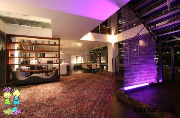 استفاده از بنفش در نمای چوبی، رنگ بنفش در طراحی داخلی