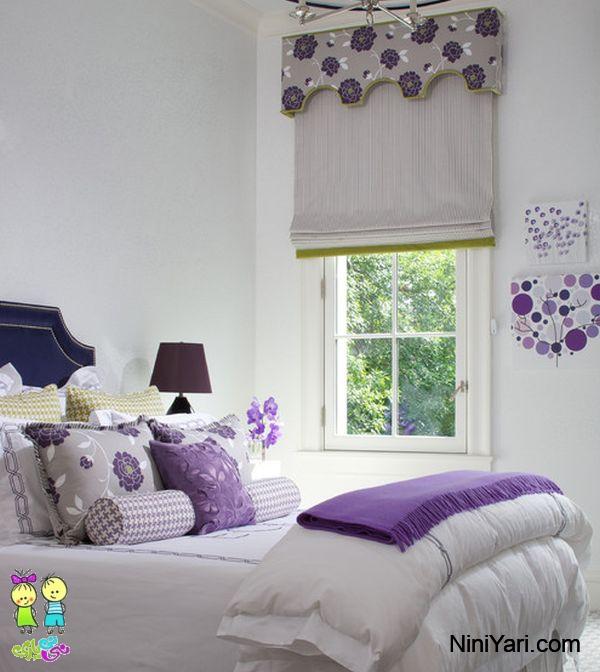 استفاده از بنفش در اتاق خواب ساده، کنتراست بنفش