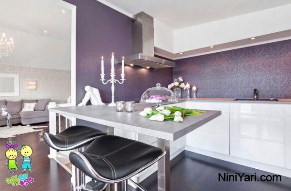 استفاده از بنفش در آشپزخانه ساده، کنتراست بنفش