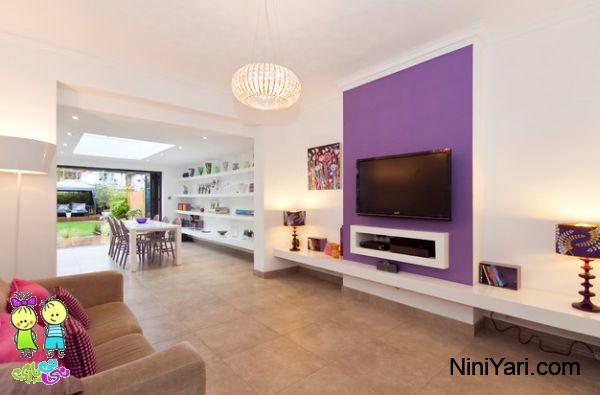 استفاده از بنفش در طراحی داخلی،به کارگیری بنفش در دکوراسیون منزل،دیوار بنفش