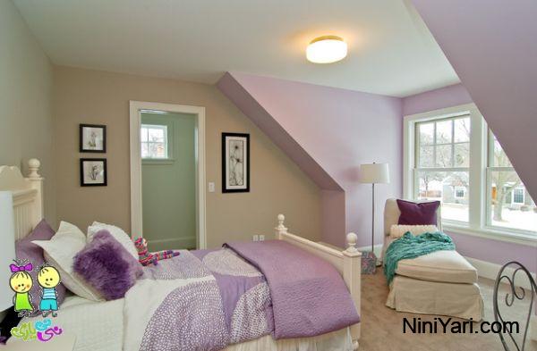 استفاده از بنفش در طراحی داخلی، اتاق خواب بچگانه بنفش