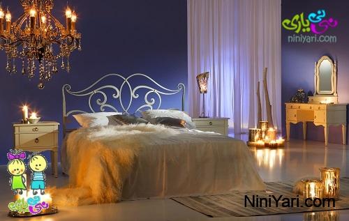 دکوراسیون اتاق خواب با شمع و نورپردازی