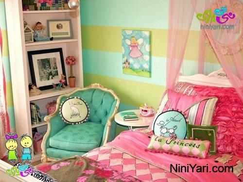 تخت اتاق کودک به رنگ صورتی