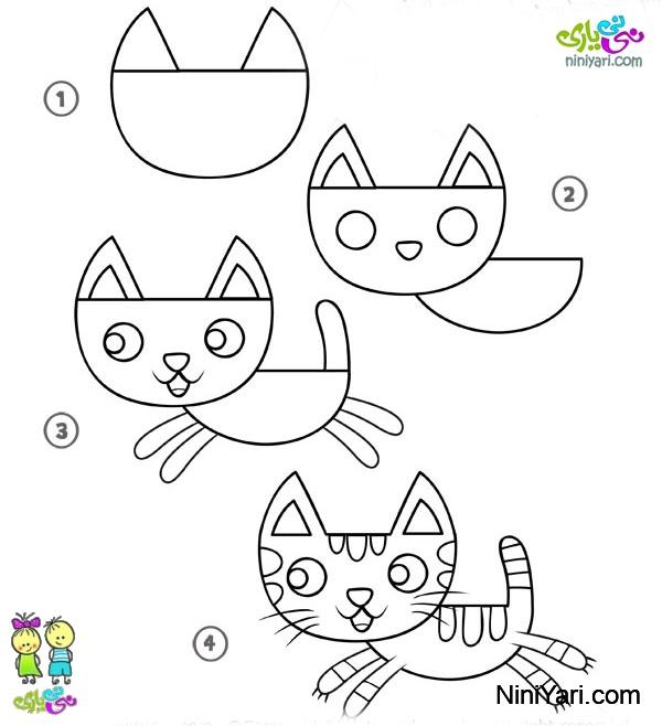 آموزش کشیدن گربه برای بچه ها